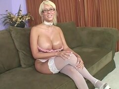 Huge tits and glasses are fun on fuck slut