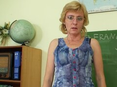 Black stockings on glasses mature