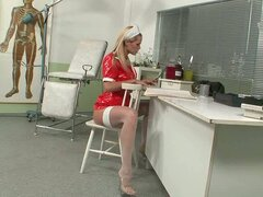 Filthy blonde nurse using implements on her loose vag