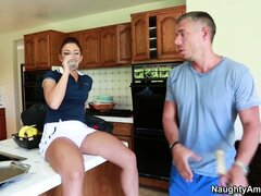 Seductive babe Mischa Brooks has a guy licking and fingering her twat in the kitchen