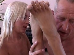 Young babes fucked by senior male