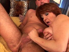 Redhead mature Morgianna gives a good blowjob