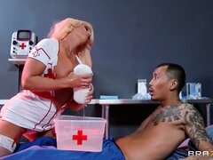 The blonde nurse has superb tits...
