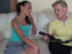 Granny and young teen play with each other