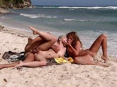 Smoking hot blonde bitches in wild beach group sex session