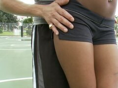 Sporty ebony lady Erika Vuitton blows white dick