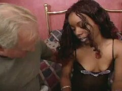Hot ebony babe sucking a old white cock