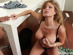 Busty blonde mom Darla Crane gets her twat tickled with his tongue then his tool