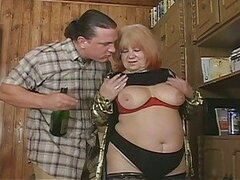 Fatty grandma wants to fuck drunk guy