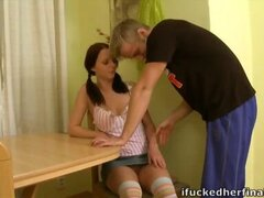 Every time Ilona was in his apartment young pervert wanted to see her naked kneeled in front of him sucking his cock.