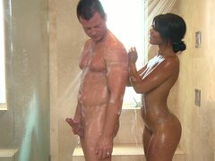 Brown skinned Leilani Leeane soaps the dude and gets penetrated from behind in spa parlour