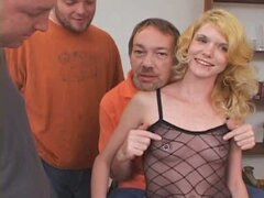 Slutty blonde babe in sexy stockings dirty for nasty bukkake party