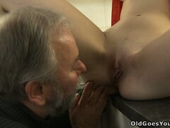 Katia lets the old guy suck her bald wet pussy...