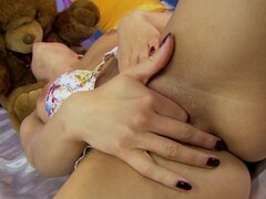 Naughty Nikky Thorne Fucking a Teddy Bear's Strapon Dildo after Fisting