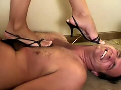 Trampling his chest with her full weight
