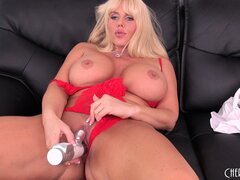 Blonde cougar, Karen Fisher, has huge hooters and a fondness for vibrating dildos