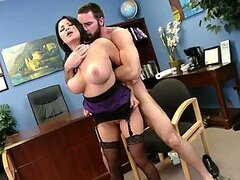 Old Babe With Big Melons Gets An Office Bang