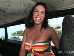 Nympho amateur brunette flashing hot tits in the sex bus