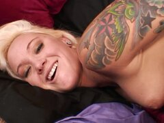 Tattooed blonde Sky Waters is riding on top!