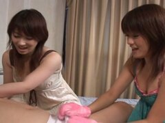Innocent teen japanese babes cleaning daddy's hairy cock