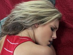 Taylors boyfriend finds her lying on the bed doing a little