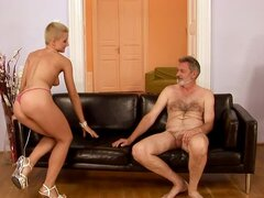 Blonde with Very Short Hair Having Sex with an Older Man