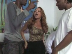 Blonde babe fucked by black dudes with big cocks