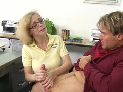 Dirty doll Penny Pax with glasses is doing blowjob to her boss