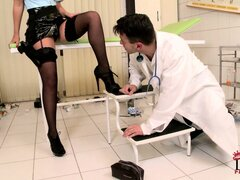 Naughty brunette babe gets down to suck on her doctor's cock