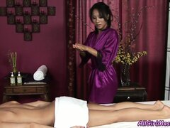 Asian then massages her bald slit