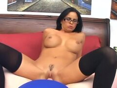 Big boobed milf Mikayla fucking in opaque stockings with glasses