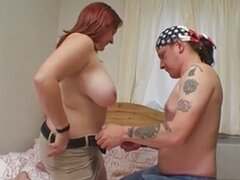 Fat British redhead is fucked on the bed