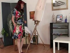 Mature painter takes it from behind