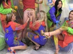 Horny dude gets painted by five chicks