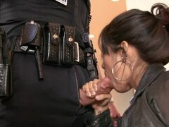Bad policeman arrests a brunette and fucks her at the police station
