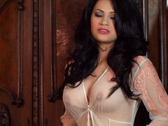 Busty and petite angel in lingerie is showing her pussy