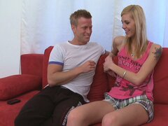 Sweet blonde Lola and her boyfriend set up a wild threesome with an older guy