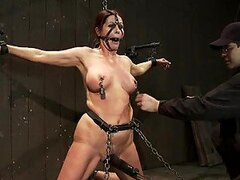Busty Brunette MILF Bounded and Tied with Leather Straps