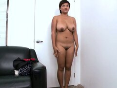 Chubby latina with massive tits oils herself up in a POV video