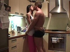 Brunette Gets Really Freaky In Her Kitchen With A Hard Cock