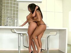 Incredible hoties with flawless tanned skinny and round big boobs Angelica Heart and Kyra Black having great morning together with their beautiful hungry pussies.