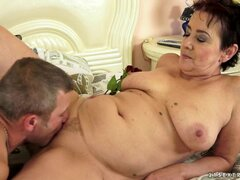 Flabby milf sucks him and rims him