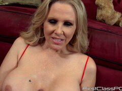 Big tit blonde Julia Ann nibbles on his long stiffy...