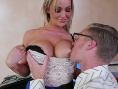 Sexy blonde whore Abbey Brooks debauch a nerd...