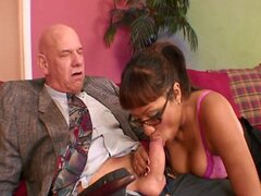 Sexy brown skinned ethnic brunette stripping stockings and giving footjob blowjob and hardcore sex