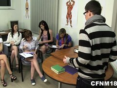 He is tutoring anatomy to a group of girls they keep giggling