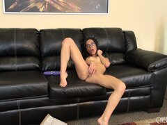 Tia Cyrus teases by lightly toying with her tiny and perky tits