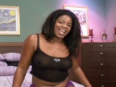 Ebony babe with a delicious chocolate ass swallows his big black boner