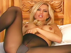 Pantyhose girl gives jerk off instructions