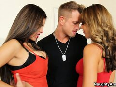 Ella Milano and her gal pal double up on his prick in a threesome